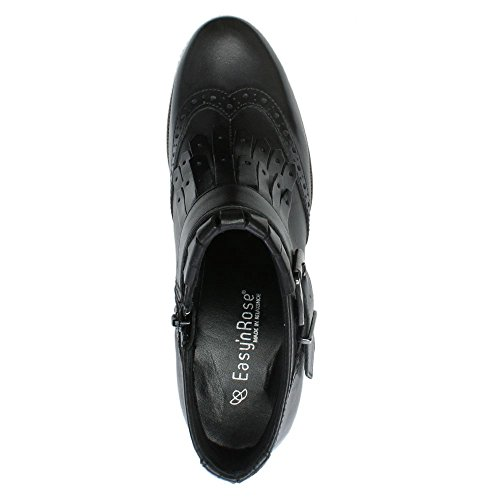 Boots Leather Brogue Rose Leather Black Heeled Easy'n Ankle Black tYxRqfxEw