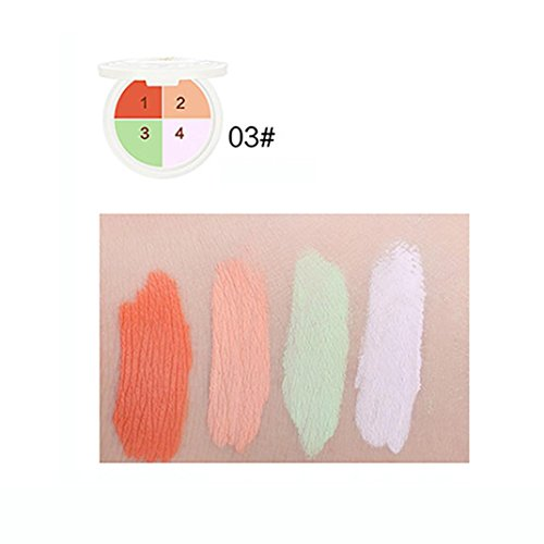 (Yeefant 1 Pcs 4-color Long Lasting Face Makeup Concealer Foundation Palette Cream Snail Essence Moisturizing Makeup,Color Disk)
