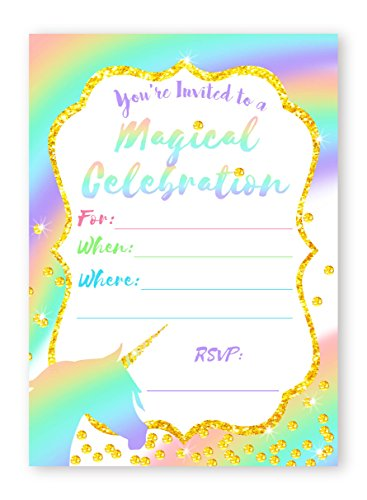 Unicorn Pastel LARGE Invitations Rainbow Party Invitations - 10 Invitations + 10 Envelopes -