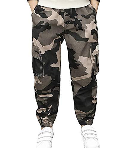 Katoenen broek voor jongens en meisjes, lange camouflagebroek met zijzakken, elastisch, camouflage, joggingbroek, taille…