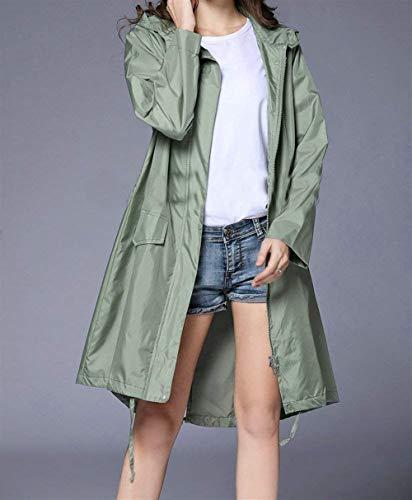 Parka Veste Fête Étendu Raincoat Style De Poche Fruchtgrün Pour Windbreaker Rain Pluie Ourlet Unie Couleur Imperméable Femmes À Capuche Respirante rUWr1vw0x