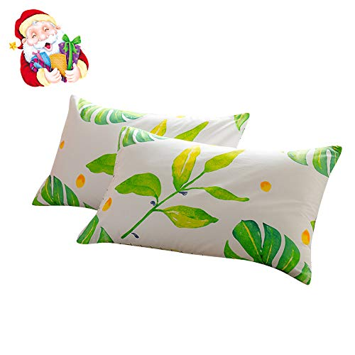 (BuLuTu Cotton Palm Tree Leaves Print Bed Pillowcases Set of 2 Queen White Kids Pillow Covers Decorative Standard for Girls Envelope Closure End (2 Pieces,20