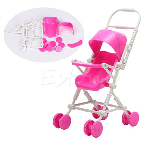 Kocome Assembly Pink Baby Stroller Trolley Nursery Furniture Toys For Barbie Doll