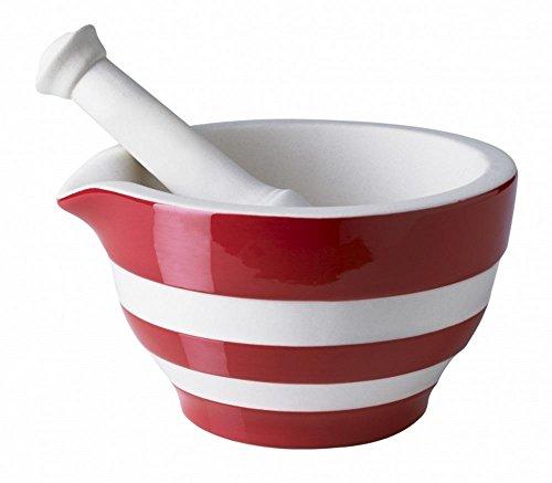 Cornishware Red and White Stripe Stoneware Mortar and Pestle