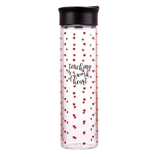 Teaching Is A Work of Heart Red/Black Water Bottle - Inspirational Water Bottle for Women, Flower & Scripture Inspirational Water Bottle for Everyday Use (BPA FREE 20oz Wide Mouth Water - Heart Water