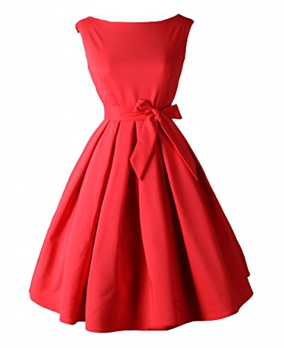 Tecrio Vintage Audrey Hepburn 1950's Boat Neck Solid Cocktail Party Swing Dress S Red]()