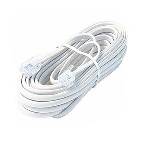 Amazon.com: 7 FT Telephone Cord White RJ11 Plug Each End 4 Conductor ...