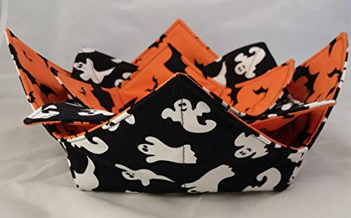 Microwave Bowl Cozy 3 pc Set Halloween Ghosts & Bats Reversible Handmade
