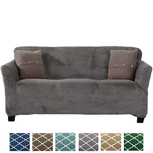 Form Fit, Slip Resistant, Stylish Furniture Shield/Protector Featuring Velvet Plush Fabric Magnolia Collection Strapless Slipcover (Sofa, Grey - Solid)