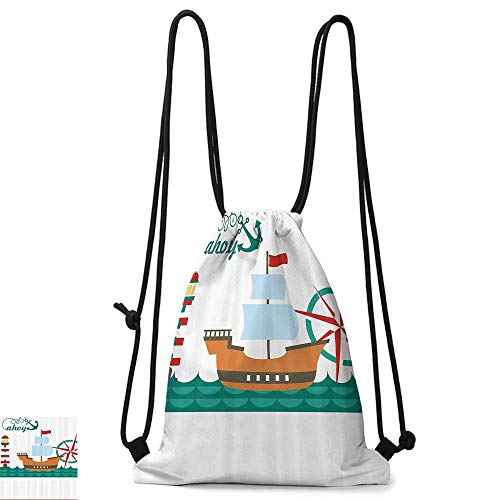 Squad Backpack Icon - School backpack Ahoy Its a Boy Sail Boat on Sea Waves Lighthouse and Compass Anchor Icons Celebration W14