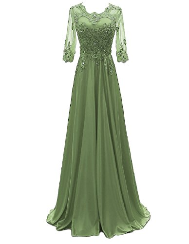 OYISHA Women's 1/2 Sleeve Lace Beaded Formal Evening Dress with Sleeves Long Mother of The Bride Dresses Light Green 10