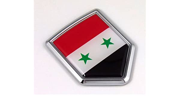 4 X 3 INCH SYRIA COUNTRY FLAG  METALLIC BUMPER STICKER DECAL .