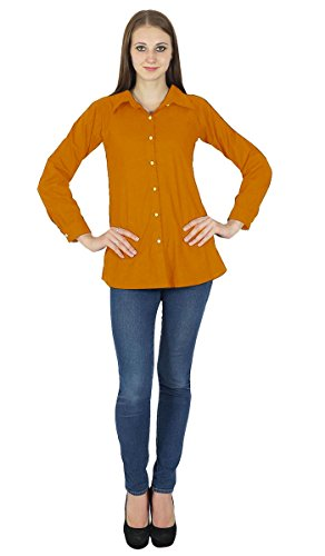 Top Rust Vtements Orange Shirt Button Longues Down Kurta Coton Manches 5vOOw8q