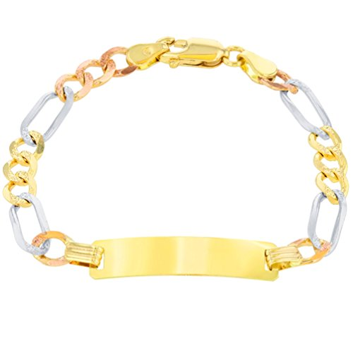Solid 14K Tri-Color Gold ID Bracelet with Figaro Chain Link, 6.5