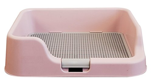 [DogCharge] Indoor Dog Potty Tray - With Protection Wall Every Side For No Leak, Spill, Accident - Keep Paws Dry And Floors Clean! 100% Satisfaction (Pink) - Indoor Dog Toilet