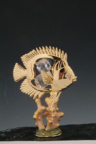 24k Sea Butterfly Fish Figurine in Coral Swarovski Crystals