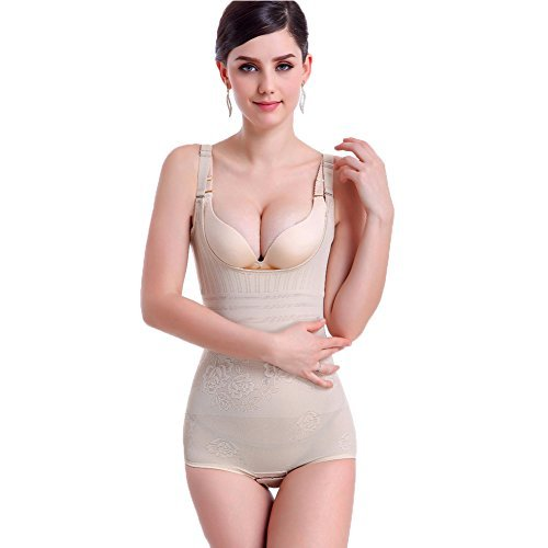 Huluwa Women's Shapewear, Summer Corset Body Briefer Bodysuit Slimming Bodyshaper for Women, Ultra-thin and Seamless, Skin Color, L (Tag XL)