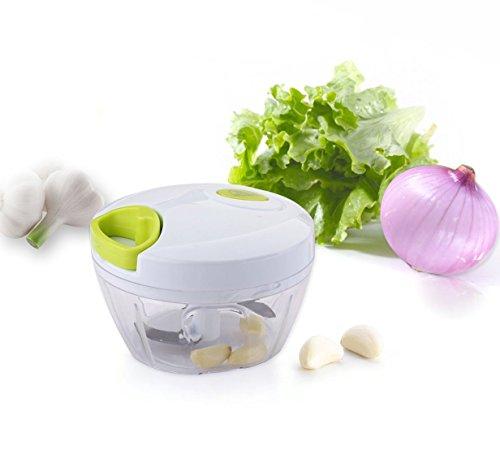 MKQPOWER, Neues Modell, 3 Klingen, Obst - und Gemüse -Zerkleinerer, Universal-Zerkleinerer, Gemüse-Hacker kompakt und scharf, perfekt zum Zerkleinern von Obst und Gemüse sowie für Salsa, Salate, Dips, Pesto uvm.