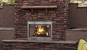 "36"" Paneled Outdoor Wood Fireplace, White Stacked Brick"