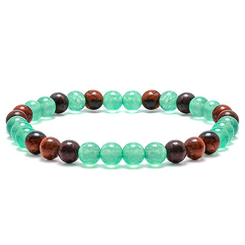 Green Agate Bead Bracelet for Women - 6mm Gem Semi Precious Stone Green Banded Agate and Bloodstone Bead Bracelet for Women Stress Relief Yoga Best Birthday Gifts for Teen Girls Gifts for Baby Girls