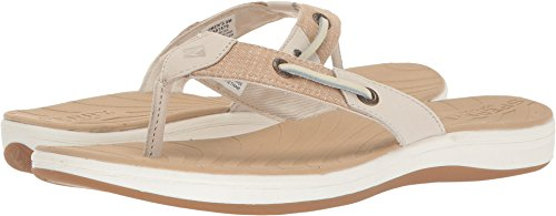 Sperry Top-Sider Women's Seabrook Surf Two-Tone Flat Sandal, Linen, 10 Medium US Two Tone Linen