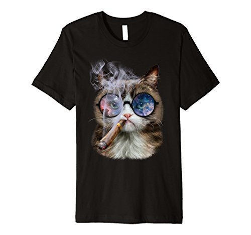Mens Tabby Cat in Space Galaxy Retro Sunglass Puff Cigar T-Shirt 2XL - Space Sunglasses Age