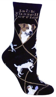 Terrier Jack Russel (Jack Russell Terrier Dog Black Cotton Ladies Socks Shoe Size 9-11 Adult)