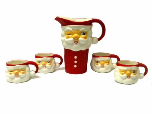 Tinsel Town Vintage-style Winking Santa Ceramic Pitcher & Cups Set of 5