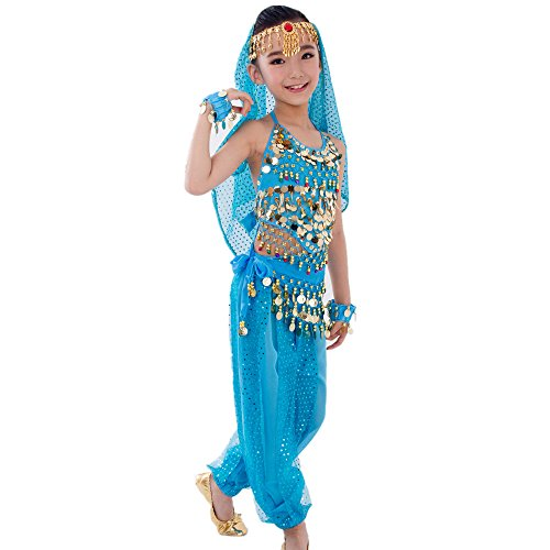 Ocean Dance Costumes (WILLLIN Handmade Children Belly Dance Costumes Kids Dancing Girls Bollywood Performance Cloth (M, Ocean Blue))