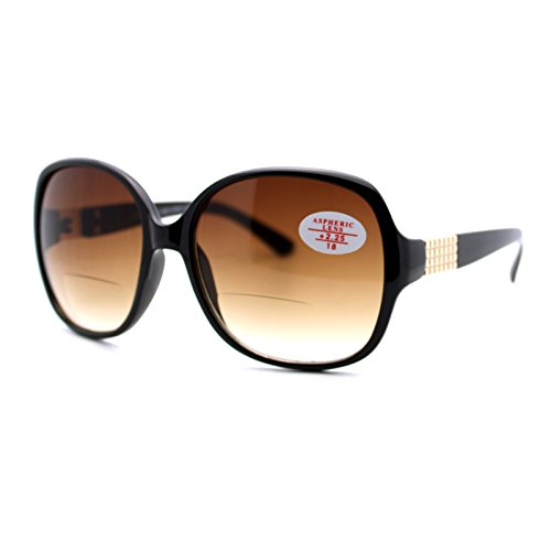 Womens Bifocal Lens Sunglasses Square Frame Aspheric Lens Black/Brown +1.75
