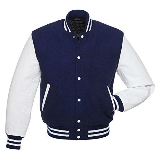 Royale Blue Letterman Jacket, White Leather Sleeves, Wool Body, Heavy Duty Ribbing, for Sale on Amazon - Leather Letterman