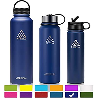 Hiwill Insulated Water Bottle - Stainless Steel Wide Mouth Vacuum Thermos Flask, Cold 24, Hot 12 Hours, 21-50 OZ Sports Drinking Bottle with 2 Leak Proof Lids
