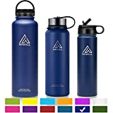 Hiwill Stainless Steel Insulated Water Bottle 2 Lids, Cold 24 Hours Hot 12 Hours, Double Wall Vacuum Thermos Flask, Travel Sports Leak Proof Metal Bottle with Straw, BPA Free (Cobalt, 27 oz)