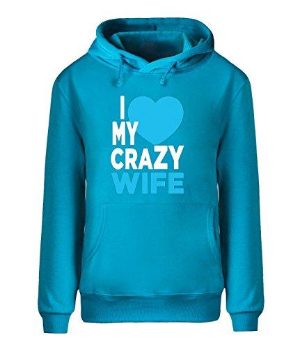 Eagle u2 Men's casual fleece hoodie I love My Crazy Wife ()