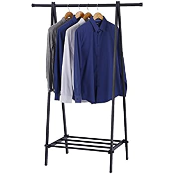 finnhomy black metal coat rack one layer clothes drying rack entryway organize - Metal Clothes Rack