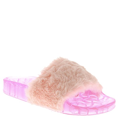 Viva Womens Sassy Chic Summer Single Strap Open Toe Fluffy Flat EVA Fashion Sandals Pink Transparent MiApyw2
