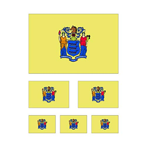 fagraphix 6 Piece Assorted Size New Jersey State Flag Sticker Set Decal Self Adhesive NJ Flags