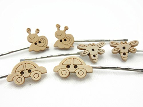 Hair Clip Bobby Pin Girl Children Accessories Button Wood