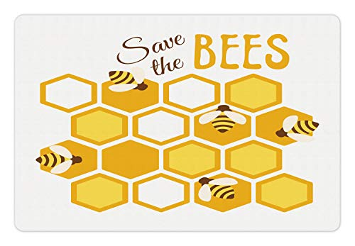 Lunarable Honey Bee Pet Mat for Food and Water, Hexagons as Combs with Save The Bees Typography Graphic, Rectangle Non-Slip Rubber Mat for Dogs and Cats, Pale Orange Mustard and Chocolate