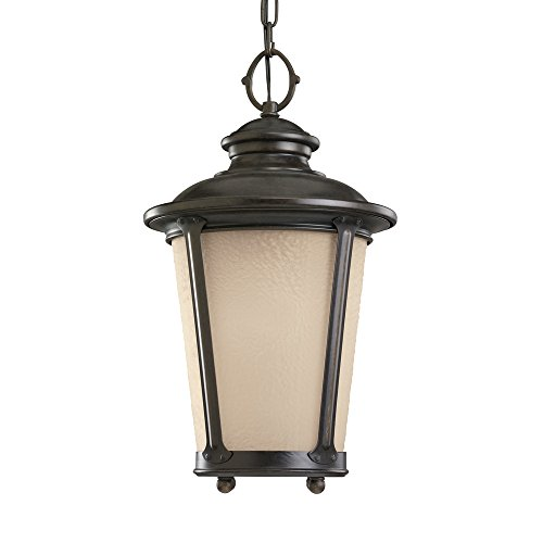 Sea Gull Lighting 60240-780 Single-Light Pendant, Etched Hammered with Light Amber Glass, Burled Iron Finish