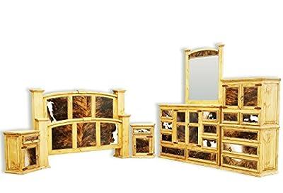 Hi End Cowhide Inlay Rustic Western Bedroom Set Solid Wood 6 Piece Complete