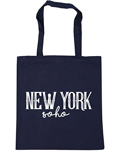 Hippowarehouse New York Soho Shopping Bag Borsa Da Spiaggia Palestra 42cm X38cm, 10 Litri - Marine Francese, Taglia Unica