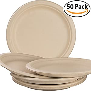 Biodegradable, Plant-Based, Tree Free, Disposable 9 Inch Plates Multi Pack. Sturdy, Gluten Free Wheatstraw Fiber is Certified Compostable, Eco-Friendly, Microwavable and Safe for Hot and Cold Foods