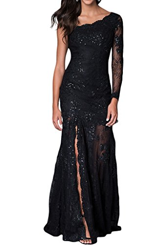 ivyd ressing Mujer Un de aermel Ranura Punta de largo Prom vestido Fiesta Vestido para vestido de noche negro
