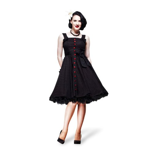 Hell Bunny - Gery - Robe Rockabilly Années 50 Pin Up - Noir/Rouge à Pois - S