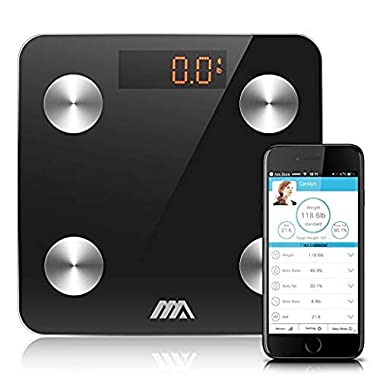 Adoric Bluetooth Body Fat Scale Smart Digital Scale with APP for Android and iOS, Tempered Glass Surface, Auto On/Off, Body Composition Monitor Measures Weight (Black)