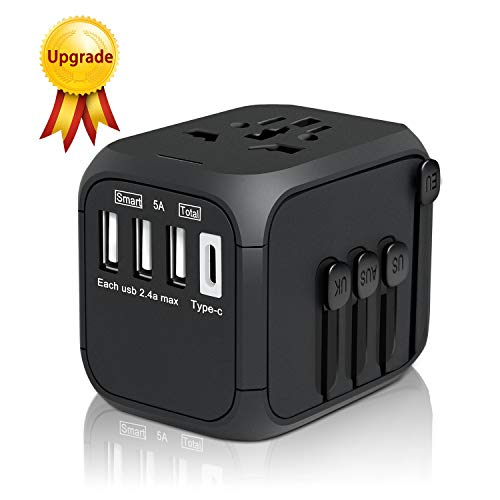 Universal Travel Adapter, HAOZI All-in-one International Power Adapter with 2.4A USB, European Adapter Travel Power Adapter Wall Charger for UK, EU, AU, Asia Covers 150+Countries (2019 Black-TYPC) (Las Americas Outlet-stores)