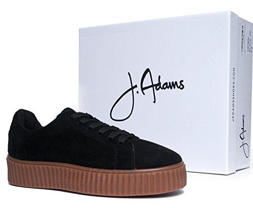 ... J. Adams Plattform Creeper Sneaker - Trendy Vegan Snøring Sko - Søte  Faux Suede Flatform