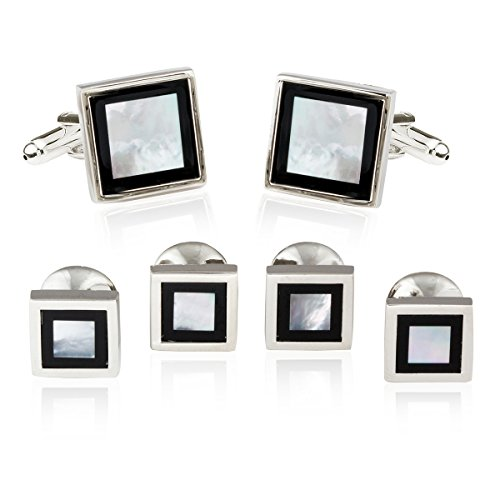 Cuff-Daddy Framed Mother of Pearl Onyx Tuxedo Set with Presentation Box ()