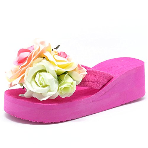 Beach Handmade Women Summer Fashion Slippers 5 Flops Jwhui Flip Platform New Ladies Sandals color Flowers qPxt440